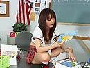 Asian schoolgirl in a miniskirt Marika Hase fucked by her black teacher