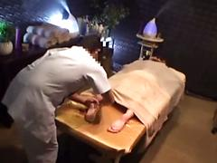 Asian Slut On Massage Table Is Oiled And Fingered