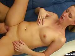 Horny blonde milf getting banged on the couch