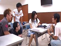 Desirous Japanese babe gets orgasmic experience in a group action