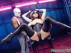 Black guy in a mask toys pussy of his submissive busty girlfriend