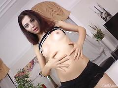 Skinny sex doll with tiny boobies blows boner and gets ass smashed